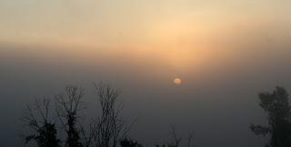 Ghostly sun through the mist