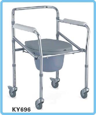 kursi medis yang bisa untuk buang air besar BAB pakai roda dan bisa diatur tingginya