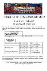 HORARIO ESCUELA DE GIMNASIA RITMICA