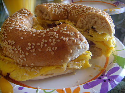 Bacon, egg, and cheese at Dushi Bagels, Aruba