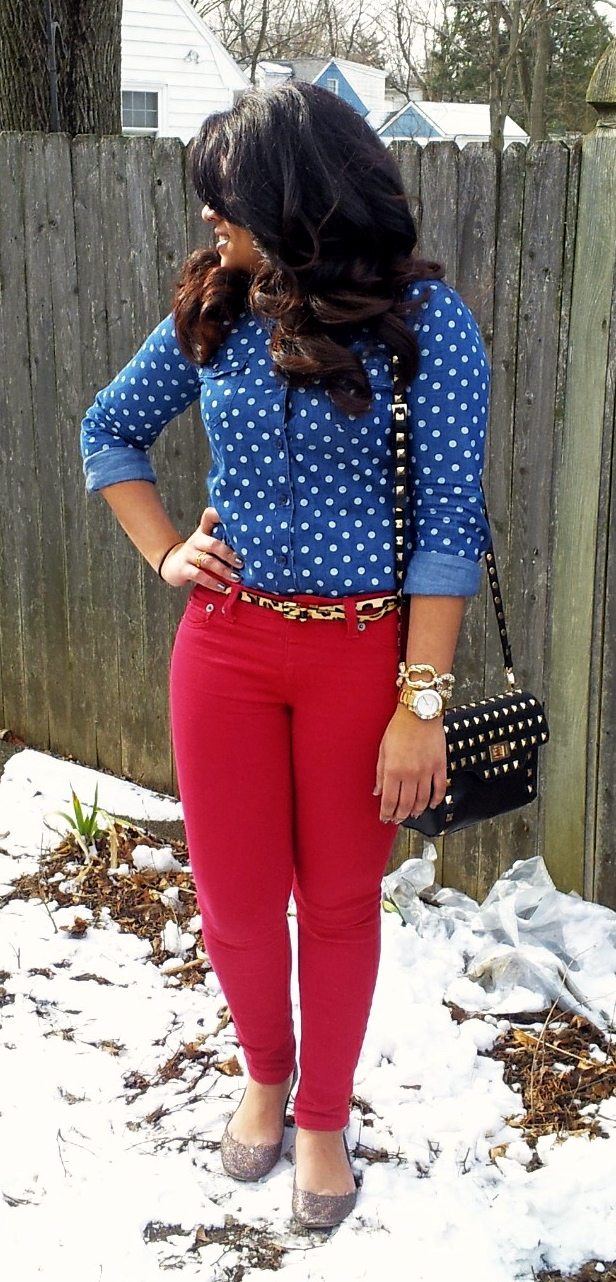 Stilettos & Sequins: OOTD: Red & Chambray