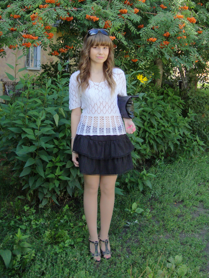 LIVE, Outfits, Knitting top, Skirts, Clutches, Handmade, Shoes, Lisette, Back to School