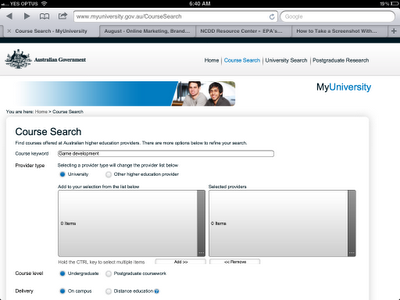 Initial course search screen in the MyUniversity website on iPad