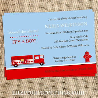 Next stop another baby fire engine baby shower sound the alarm by lil sprout greetings m4hsunfo