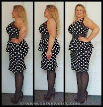 Curvy Wordy 21 Femme Polka Dot Peplum Dress 1x
