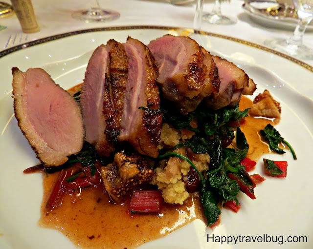 Maple-lacquered duck breast on Holland America Cruise