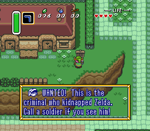 Legend of Zelda Link to the Past wanted poster
