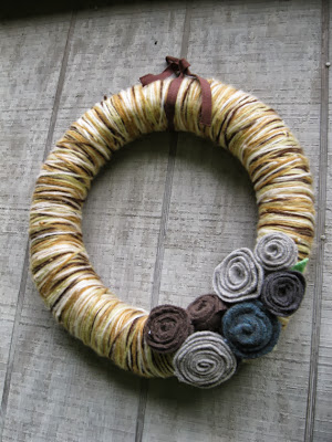 Brown and Tan Yarn Wreath