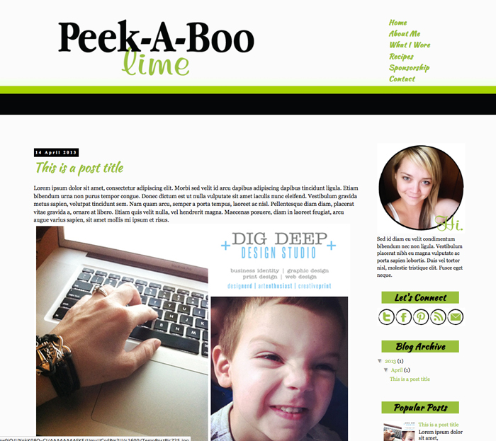 New Blogger Template: Peek-A-Boo Lime