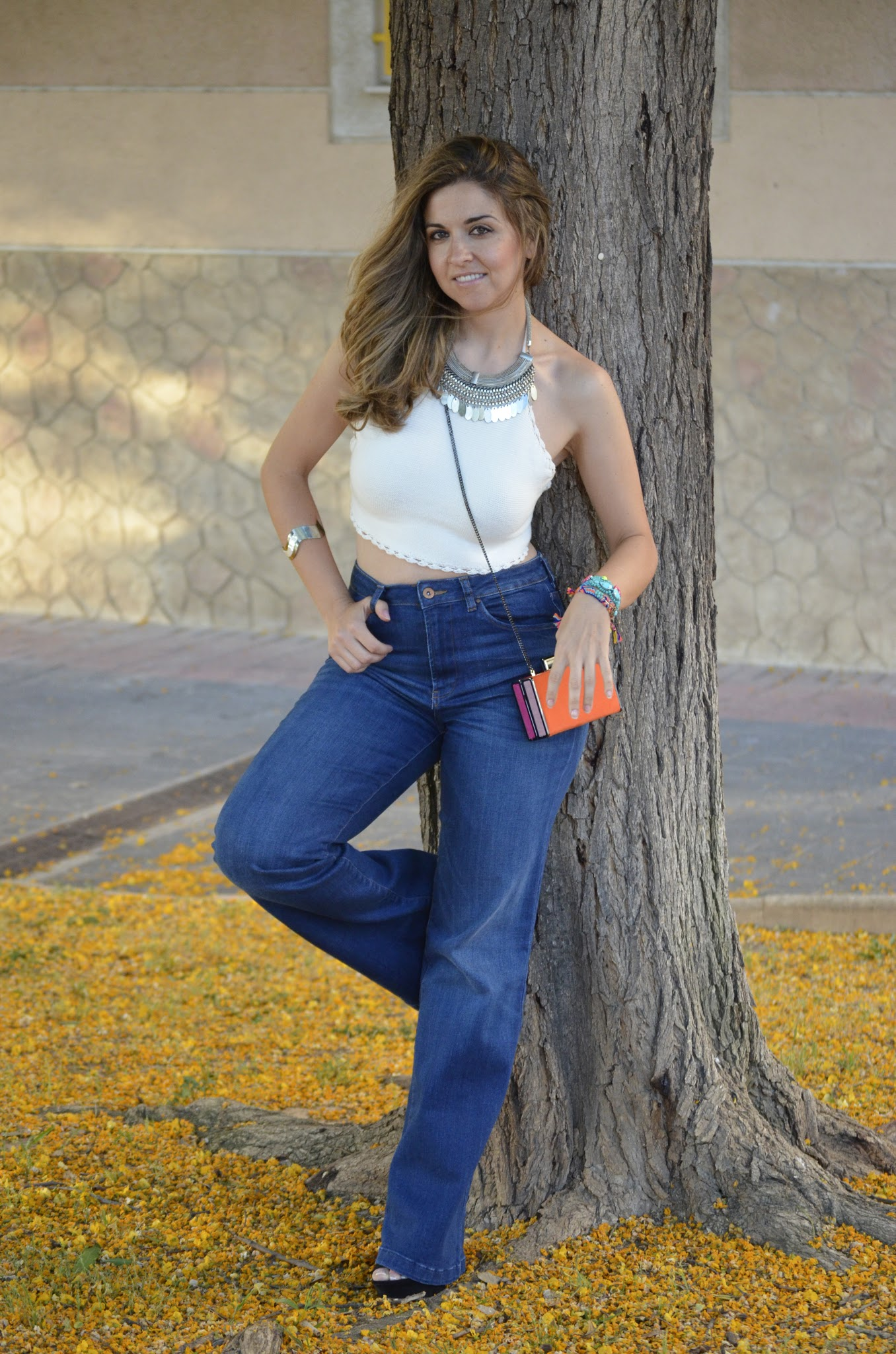 look con top de crochet
