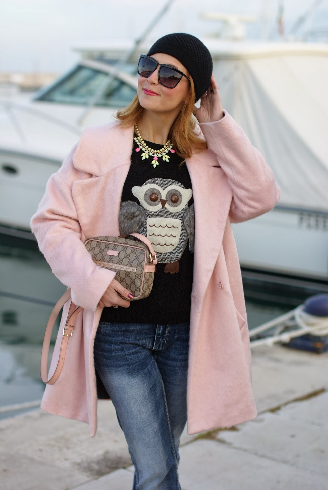 oversized pink coat, river island pink coat, gucci pink bag, romwe owl sweater, fashion and cookies, fashion blogger