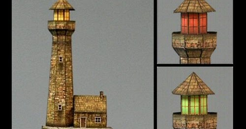 Architecture papercraft haunted for 3d paper lighthouse template