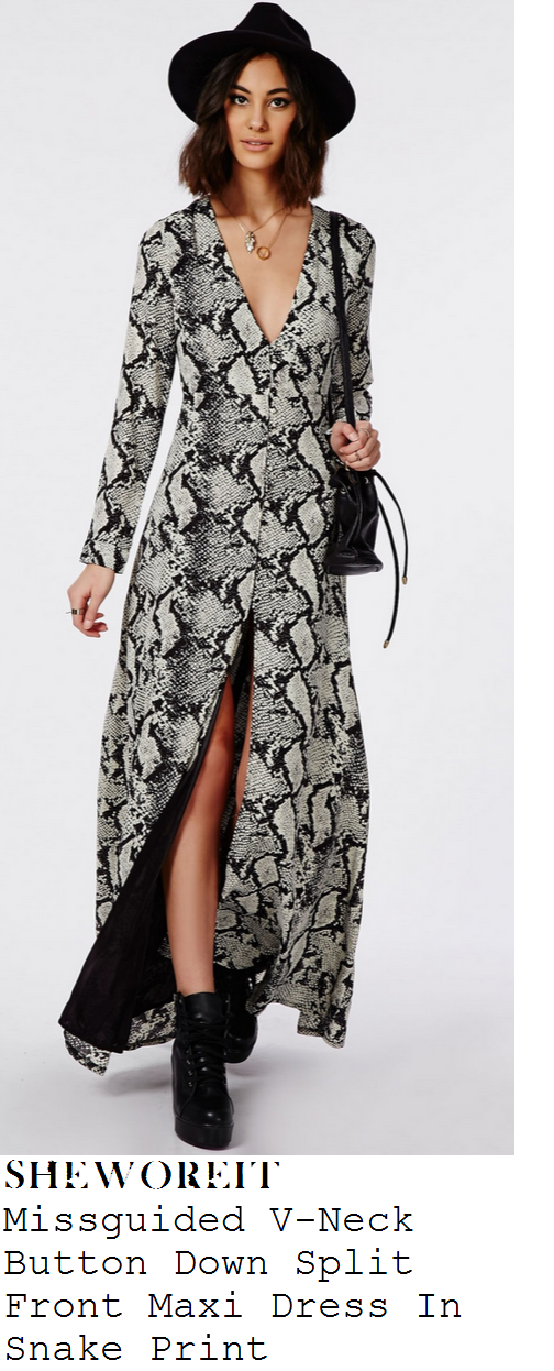lauren-pope-black-white-and-grey-snakeskin-print-long-sleeve-v-neck-maxi-dress-tenerife