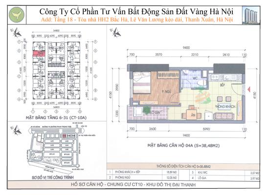 Chung cư Đại Thanh CT10 38,48m2
