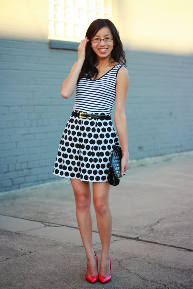 black white polka dot patterns mixing pink pumps stripe tank