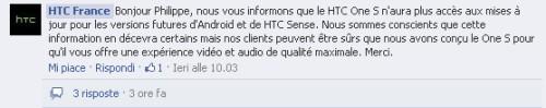 Secondo la sede locale francese di Htc lo smartphone One S non avrà l'aggiornamento ad android 4.2 e la vesione di Sense 5