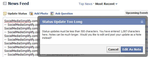 Facebook To Lift The Character Limit To 5000 Words From 500 Words