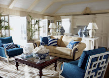 Navy Blue and Beige Living Room