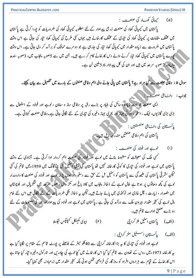 industrial-development-in-pakistan-descriptive-question-answers-pakistan-studies-urdu-9th