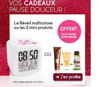 Soldes Yves Rocher + cadeau réveil multicolore 2013