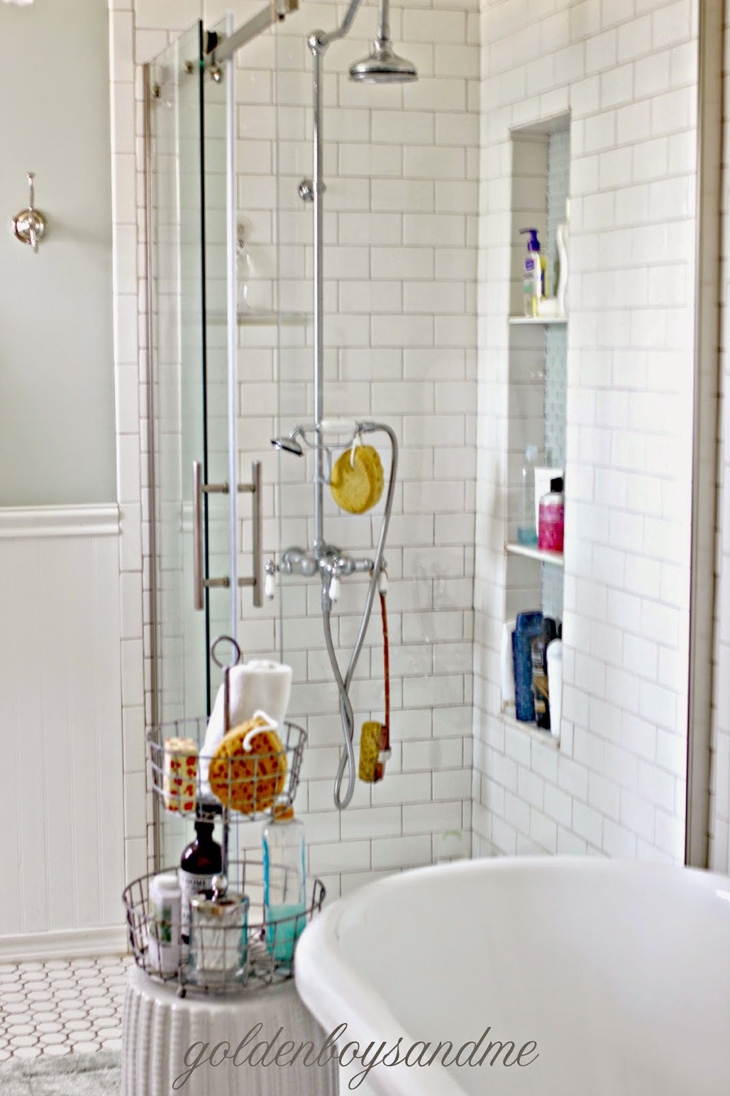 DIY master bathroom with white subway tile and tall shower niche-www.goldenboysandme.com