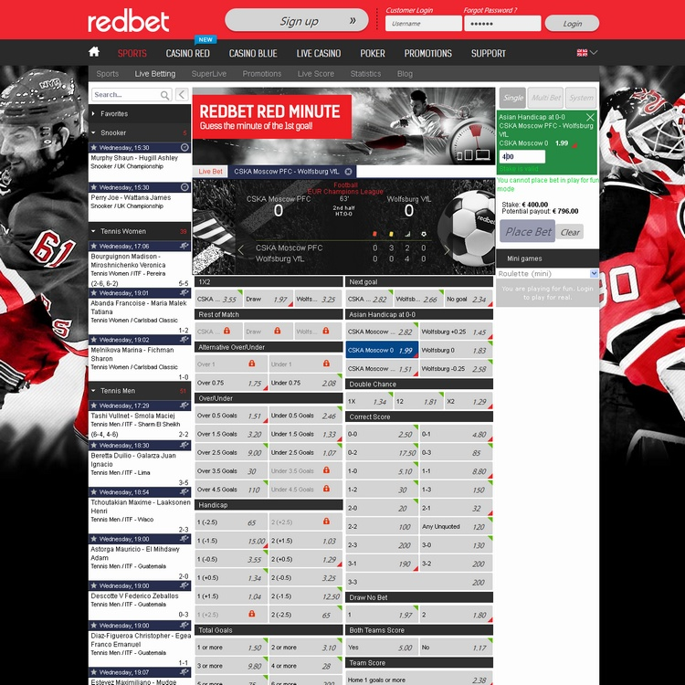 Redbet Live Betting Offers