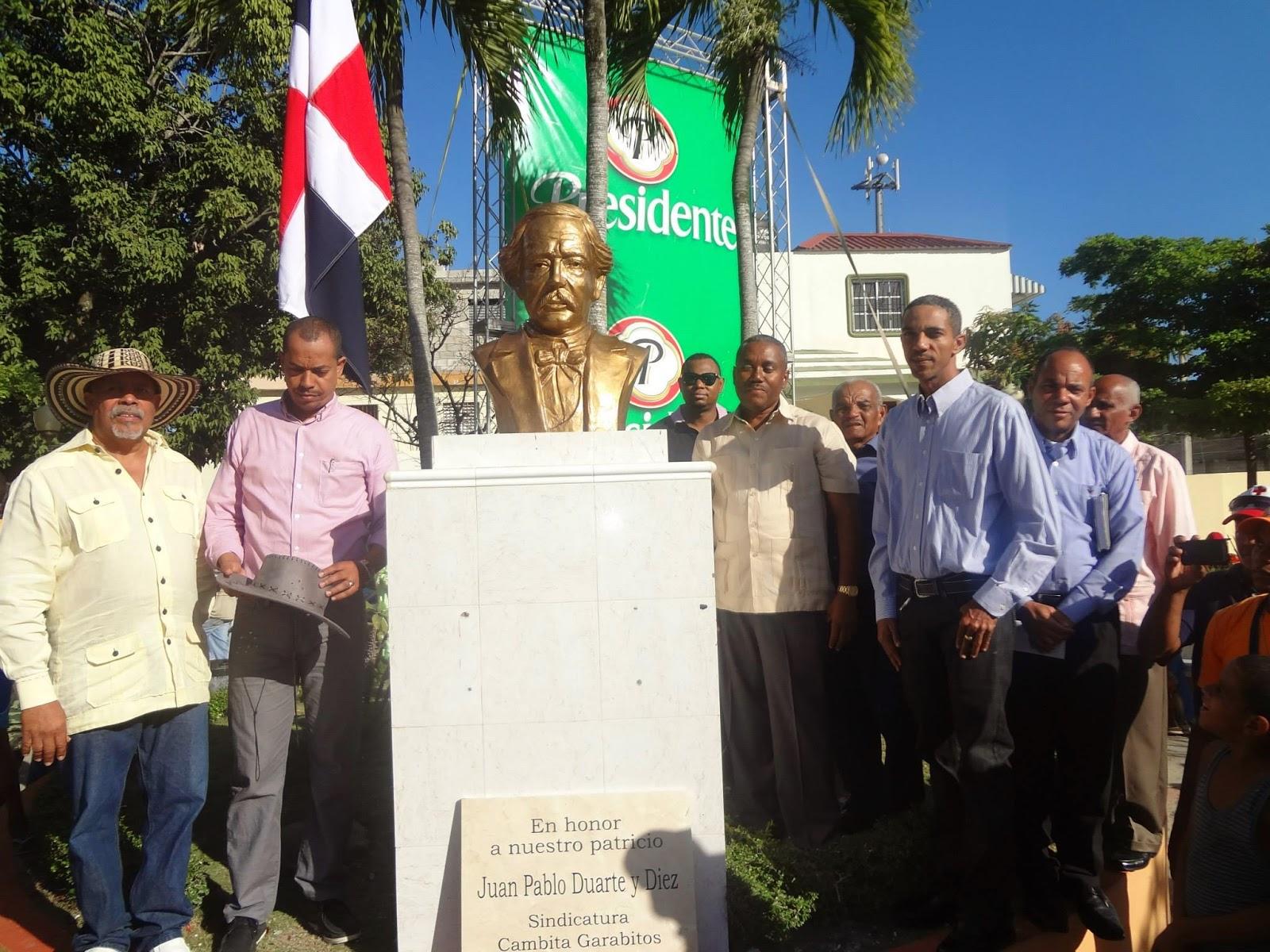 Alcaldía del municipio  de Cambita dejó inaugurado busto del patricio JPD en el 171 aniversario de la Independencia