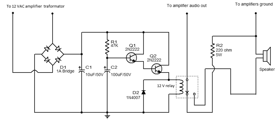 simple speaker protector circuit free electronic circuit diagrams rh circuits audio blogspot com Loudspeaker Construction Speaker Diagram