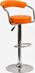 Orange Vinyl Bar Stool