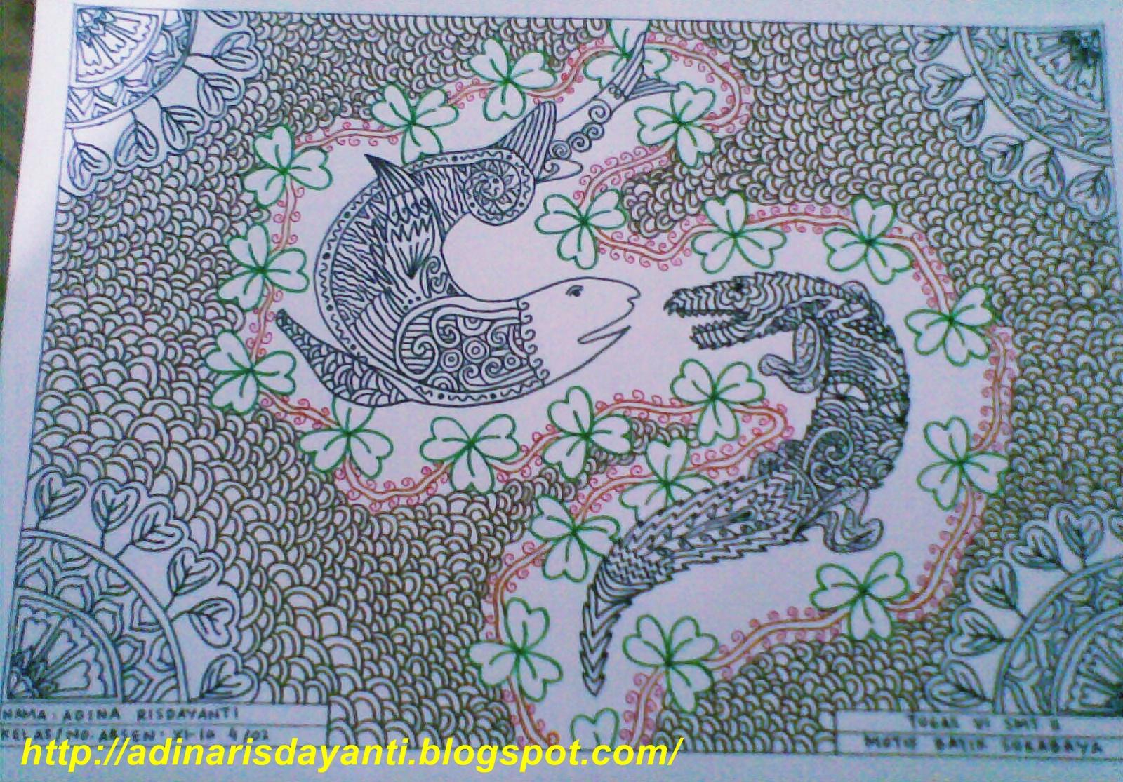 motif batik Surabaya belum diwarnai.