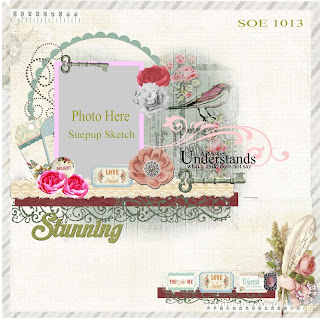 "Scraps of Elegance ""Simply Shabby Chic"" scrapbook sketch"