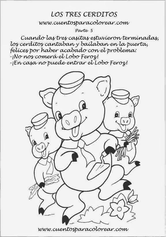 Cuentos infantiles: Dibujos para colorear a los tres cerditos y el ...