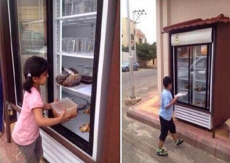 13 beautiful acts of kindness that left me teary-eyed - saudi arabian installs charity fridge feed poor
