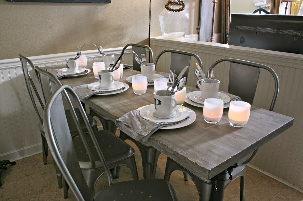 White Tablescape, White Dinnerware, Industrial Chic, Metal Chairs, Drafting Table