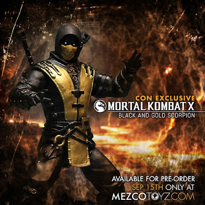 "New York Comic Con 2015 Exclusive Mortal Kombat X ""Black & Gold"" Scorpion Action Figure by Mezco Toyz"