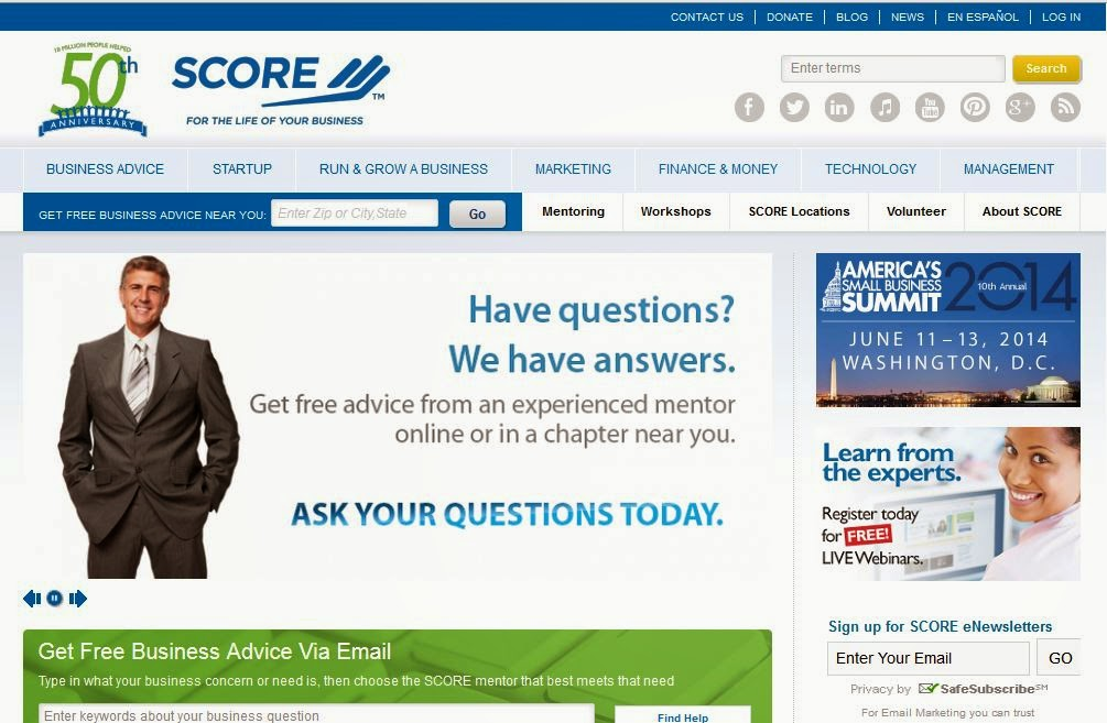 SCORE website screen capture