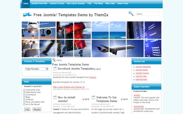 Free Blue Flight Travel Tracker Joomla Theme Template