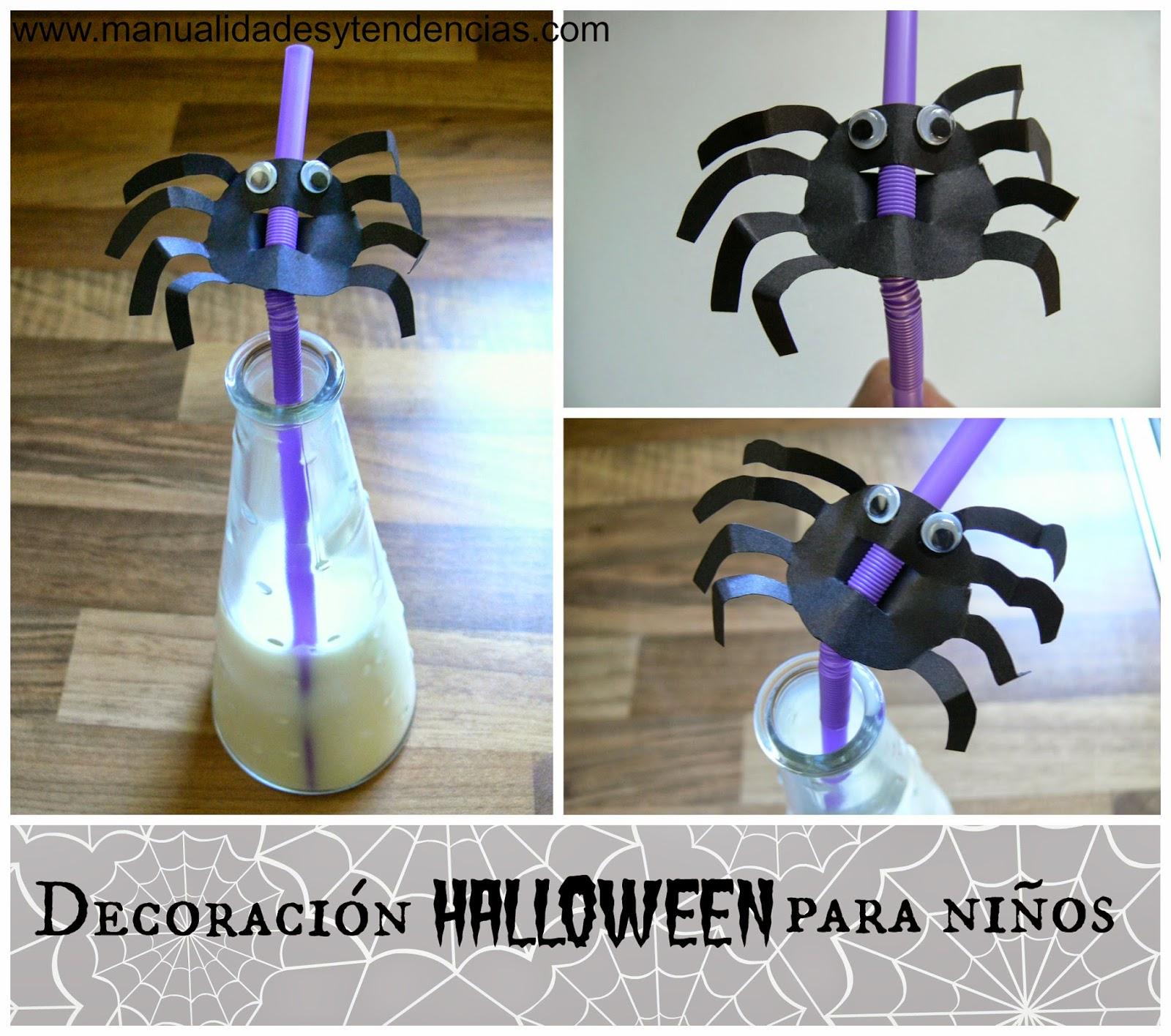 araña de cartulina para decorar fiesta de Halloween