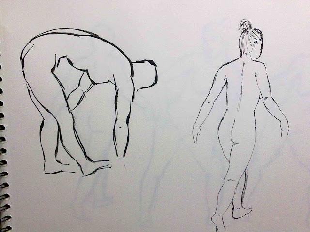 desnudos femeninos tinta china