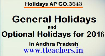 AP General Holidays List 2016 AP Optional Holidays