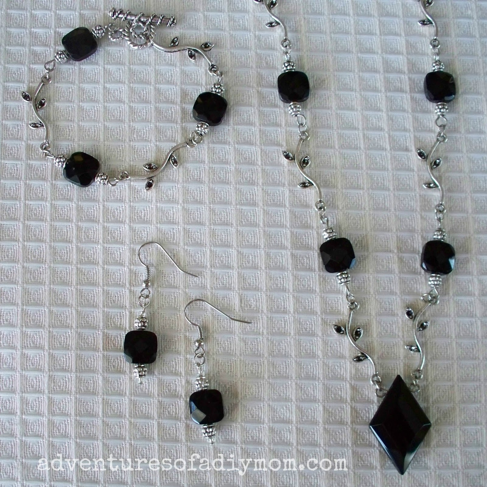 Turn a necklace into a bracelet and earrings