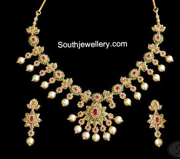 floral uncut diamond neckalce