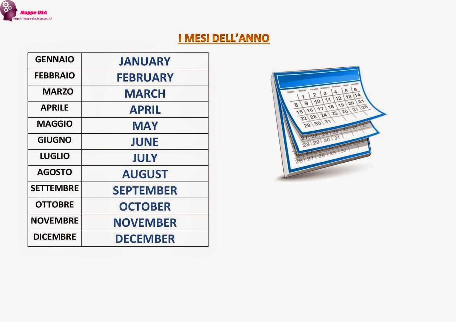 Giorni della settimana stagioni mesi for Ricette per tutti i giorni della settimana