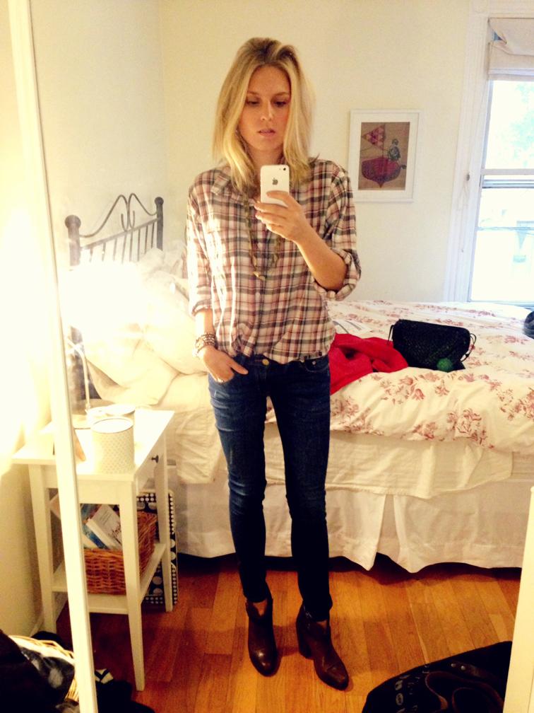 Plaid Top Rag & Bone Harrow Boots Selfie