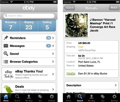 eBay mobile apple itunes app