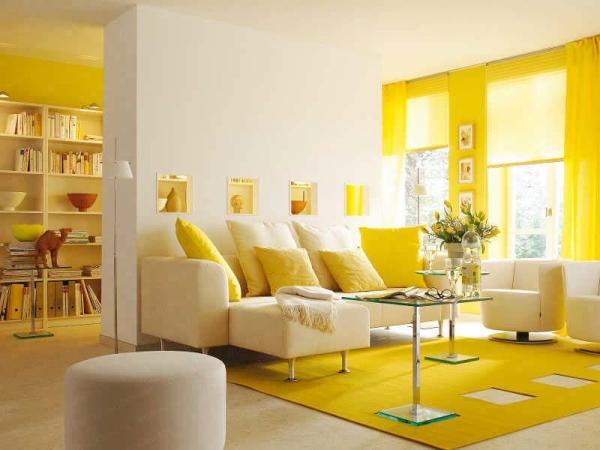 Decoraci n de salas en color amarillo ideas para decorar - Decoracion en amarillo ...