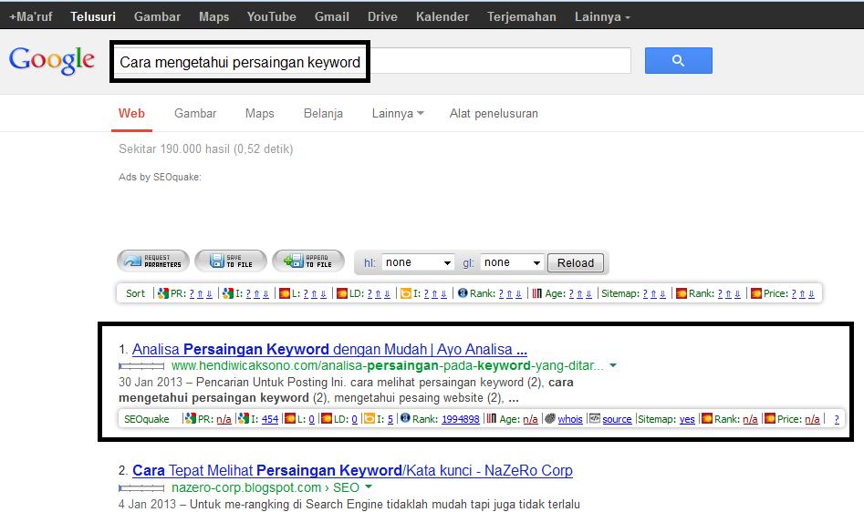 Lihat blog yang memiliki rank di halaman satu