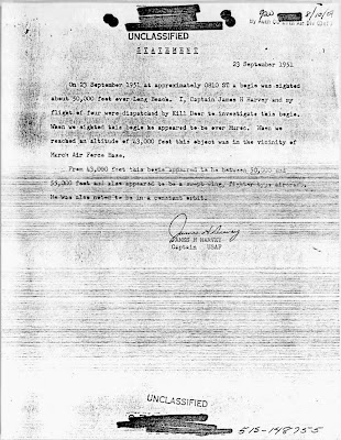 Declaração do capitão James Harvey re Pursuit of UFOs sobre Long Beach 1951/09/23