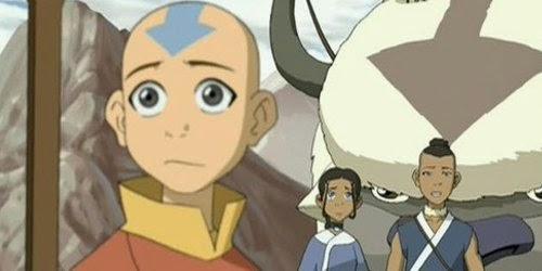 Aang et ses compagnons : Katara, son frère Sokka et Appa le Bison-Volant