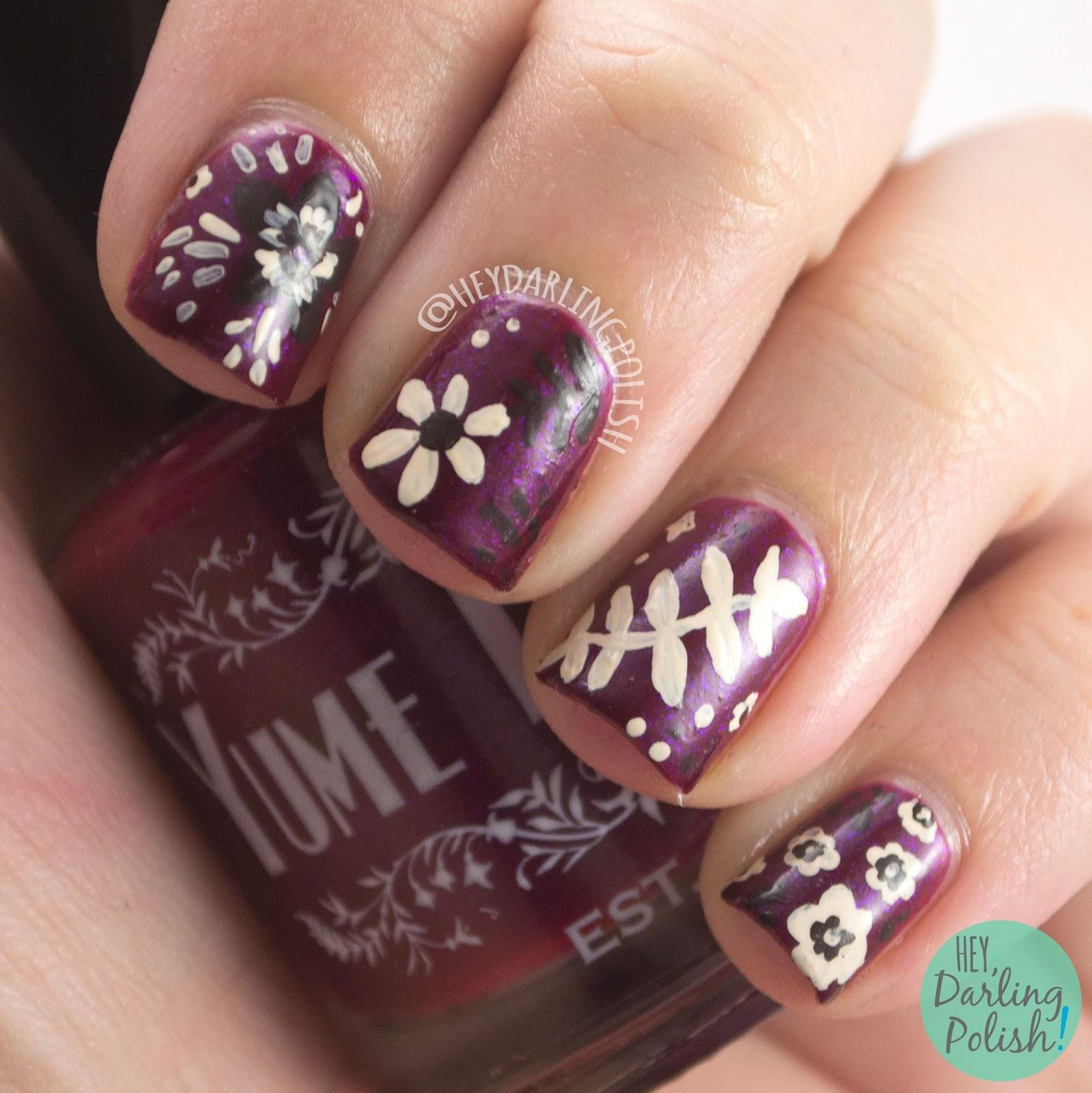 wine berry, flame warrior, floral, autumn, nails, nail art, nail polish, indie polish, yume lacquer, sailor moon,